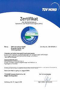 Zertifikat SMB International Wasserhaushaltsgesetz