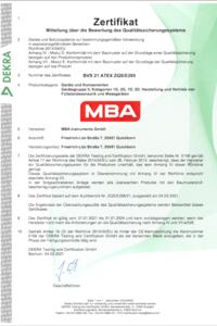 Zertifikat ATEX MBA801