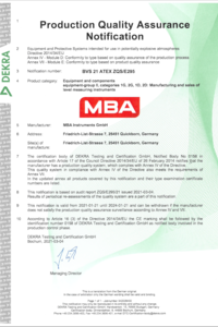 Product Certificate ATEX MBA800